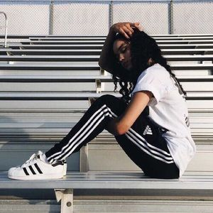 Adidas classic black and white striped track pants